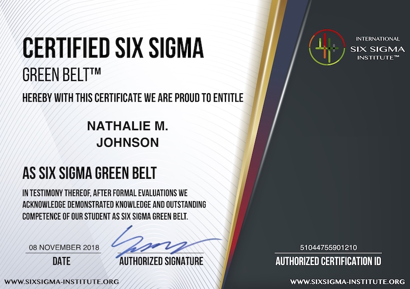 Six Sigma Certification Trisaorddiner